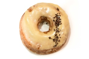 Passionfruit glaze donut with cocoa nibs from Cool Disco Donuts